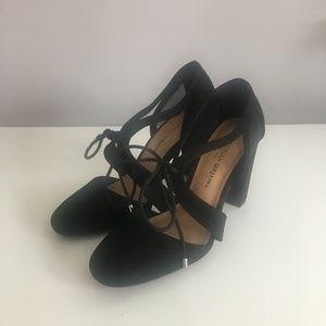 Christian Siriano Black Tie Front Heels